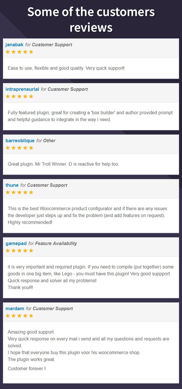Some of the customers reviews